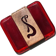 Vintage Bakelite Compact Monogrammed With The Letter S