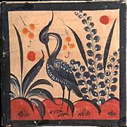 Vintage Mexican Tonala Pottery Bird Tile