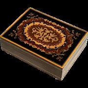 Vintage Italian Inlaid Wood Marquetry Music Box - Lara's Theme