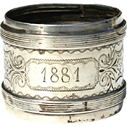 19th Century French Sterling Silver Napkin Ring, Circa 1881