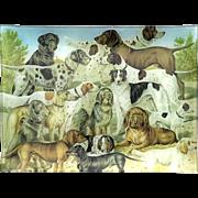 Vintage Signed Decoupage Glass Dog Tray