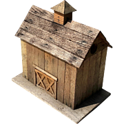 Vintage Folk Art Wooden Barn Birdhouse