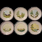 Set Of Six Vintage Slip Decorated Pottery Farm Plates