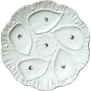 Antique Austrian Carlsbad Porcelain Oyster Plate, Circa 1875