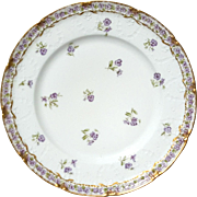 Antique Haviland Limoges Porcelain Pansy Plate, Circa 1888