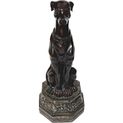 Vintage Seated Greyhound Figure With Bronze Finish