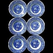 19th Century Set Of Six Staffordshire Blue &  White Alhambra Transferware Bowls