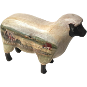Vintage Hand-Painted Carved Wood Folk Art Sheep