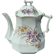 19th Century Floral Painted Ironstone Teapot,  Circa 1852