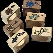 Vintage Set Of Six Stoneware Pottery Floral Napkin Rings