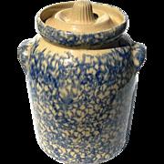 Vintage Signed Robinson Ransbottom Spongeware Lidded Jar