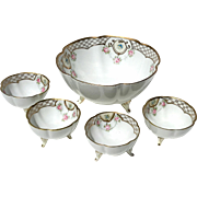 Set Of Vintage Hand-Painted Nippon Floral Berry Bowls