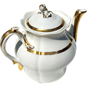 Antique Pairs Porcelain Gilt Gold Decorated Teapot, Circa 1890