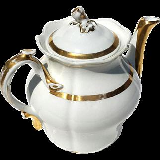 Antique Paris Porcelain Gilt Gold Decorated Teapot, Circa 1890
