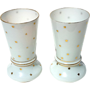 Pair Of Antique French Opaline Glass Vases With Gold Stars