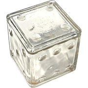 Vintage Bristol Diced Mints Glass Dice Candy Container