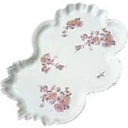 Antique German Brunswick Porcelain Floral Vanity Tray