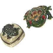 Pair Of Enameled And Jeweled Frog Pill Boxes