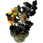 Antique Chinese Jade Tree In Cloisonne Planter, Circa 1910
