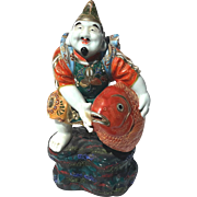 Antique Japanese Moriage Kutani Porcelain Figure With Large Fish, Circa 1900