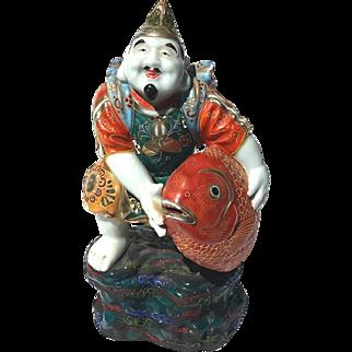 Antique Japanese Moriage Kutani Porcelain Figure With Large Fish, Circa 1900