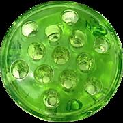 Large Vintage Green Glass Flower Frog