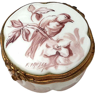Early Vintage Signed Hand-Painted French Limoges Box