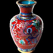 Vintage Signed Chinese Cloisonne Dragon Vase