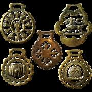 Set Of Five Vintage English Horse Brasses