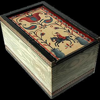 Signed Folk Art Painted Wood Box