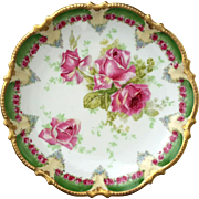 19th Century Hand-Decorated Limoges French Porcelain Rose Plate