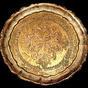 Vintage Italian Florentine Gilt Wood Round Tray