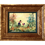 Signed Louis Cardin Framed Enamel Painting On Copper, Circa 1975