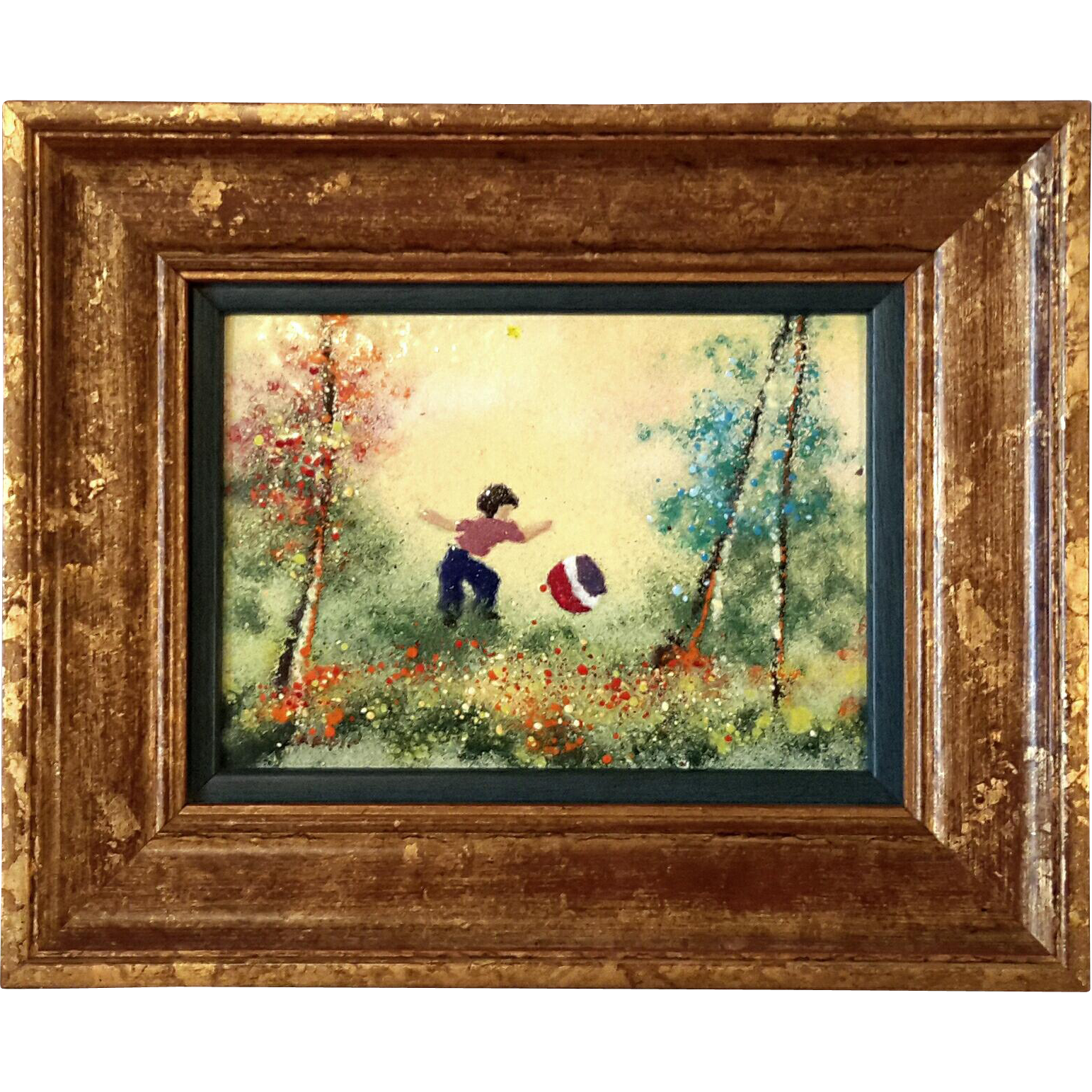 Signed Louis Cardin Framed Enamel Painting On Copper