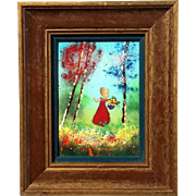 Louis Cardin Framed Enamel Painting On Copper, Circa 1975