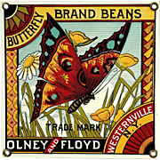 Vintage Enameled Metal Olney And Floyd Butterfly Brand Beans Label Sign