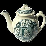 19th Century Allertons Staffordshire Pottery Child's Little Mae Teapot, Circa 1875