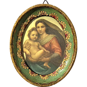Vintage Italian Gilt Wood Framed Florentine Madonna & Child