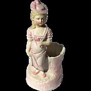 Victorian Bisque Porcelain Figural Toothpick Holder