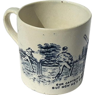 19th Century Staffordshire Pottery Cricket Mug