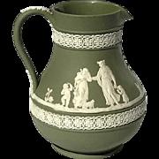 Signed & Dated Vintage Wedgwood Green Jasperware Porcelain Pitcher