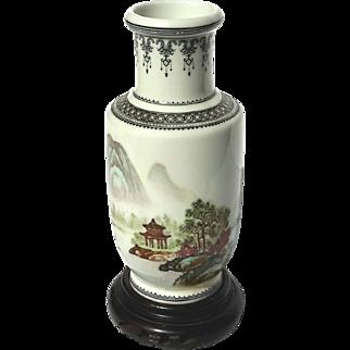 Vintage Signed Chinese Porcelain Vase On Wooden Stand