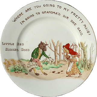 Antique Shelley China Little Red Riding Hood Plate, Circa 1903