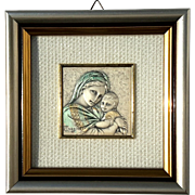 Vintage Framed Italian Sterling Silver Madonna And Child