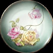 Early Vintage Signed Bavarian Porcelain Rose Plate