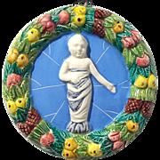 Vintage Signed Italian Majolica Pottery Della Robbia Baby Wall Plaque
