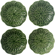 Set Of Four Early Vintage Majolica Pottery Green Leaf Plates