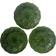 Set Of Three Early Vintage Majolica Pottery Green Leaf Plates