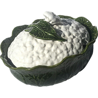 Early Vintage Majolica Pottery Cauliflower Tureen