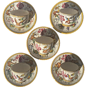 Set Of Five Signed Antique Italian Deruta Majolica Pottery Cups And Saucers